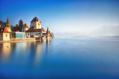 Oberhofen castle on the lake Thun Royalty Free Stock Photo