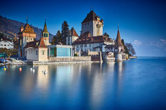 Oberhofen castle on the lake Thun Stock Photography