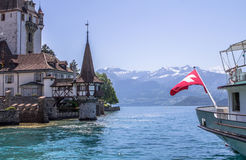 Oberhofen castle on the lake Thun in Switzerland Stock Photography