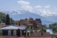 Oberhofen castle on the lake Thun in Switzerland royalty free stock photos