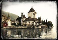 Oberhofen Castle on the lake of Thun, Switzerland Royalty Free Stock Photos