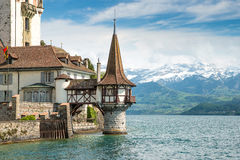 Oberhofen castle in the Thun lake in Switzerland Royalty Free Stock Photos