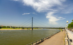 Oberkasseler bridge in Dusseldorf, Germany Stock Images