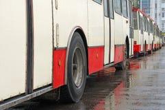 Oberleitungsbuse in einer Station Lizenzfreie Stockfotos