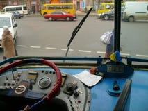 Oberleitungsbuse in Ukraine Stockbild