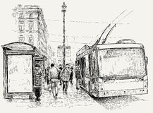 Oberleitungsbushalt in der Großstadt Stockbilder