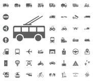 Oberleitungsbusikone Gesetzte Ikonen des Transportes und der Logistik Gesetzte Ikonen des Transportes Stockfoto