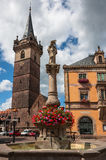 Obernai市中心,阿尔萨斯酒路线,法国 库存照片