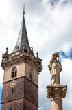 Obernai市中心,阿尔萨斯酒路线,法国 图库摄影