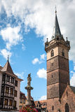 Obernai市中心,阿尔萨斯酒路线,法国 免版税库存图片