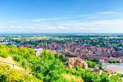 Obernai aerial view on summer sunshine, Alsace royalty free stock image