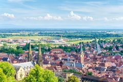 Obernai aerial view on summer sunshine, Alsace stock photo