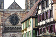 Obernai (Alsace) - Houses and church Royalty Free Stock Image