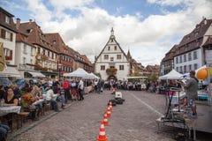 Obernai Stadtmitte, Elsass, Frankreich Lizenzfreies Stockfoto