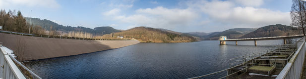 Obernau fördämning i den Tyskland panoramautsikten Fotografering för Bildbyråer