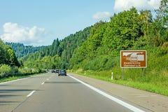 Oberndorf am Neckar, opactwo znak, Autobahn, Niemcy fotografia royalty free