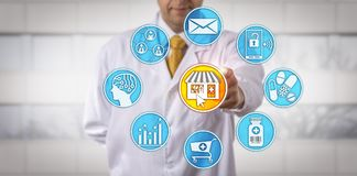 Oberoende återförsäljnings- apotekareStarting E-apotek royaltyfria foton