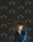 Affärsman, deltagare eller lärare som betraktar Jesus, guden eller kristendomen arkivfoton