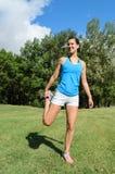 Oberschenkelmuskel-Ausdehnen Stockfoto