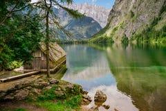 Obersee湖的,德国小木船库 库存图片