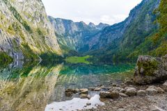 Obersee, Koenigssee, Konigsee, parc national de Berchtesgaden, Bavière, Allemagne images stock