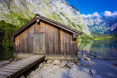 Obersee mountain lake in Alps. Bavaria, Germany Royalty Free Stock Photo