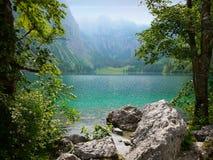 Obersee sjö, Berchtesgaden, Tyskland Fotografering för Bildbyråer