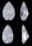 Oberseiten-, untere und Seitenansichten des Birnendiamanten Stockbild
