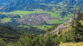 Oberstdorf from hiking trail Bavaria Germany Royalty Free Stock Photos