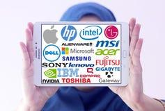 Oberste berühmte Marken des Computers (PC) Stockfotografie
