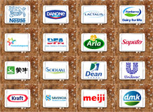 Oberste globale Molkereiunternehmenlogos stockfotos
