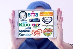 Oberste populäre trockene FormelmilchHerstellermarken und Logos Lizenzfreie Stockfotografie