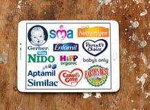 Oberste populäre trockene FormelmilchHerstellermarken und Logos Stockbilder