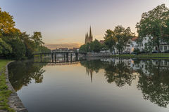 Obertave in Luebeck during sunrise.  Royalty Free Stock Photo