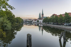 Obertave in Luebeck during sunrise.  Stock Image