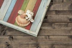 Oberteile auf der farbigen Planke Stockfotos