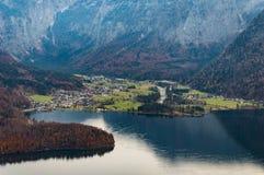 Obertraun, Lake Hallstatt aerial view. Nature, Upper austria. View from Skywalk Hallstatt Salt mine Cable car in autumn stock photography