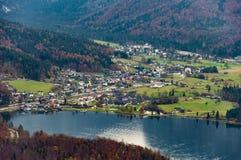 Obertraun, Lake Hallstatt aerial view. Nature, Upper austria. View from Skywalk Hallstatt Salt mine Cable car in autumn stock images