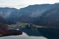 Obertraun, Lake Hallstatt aerial view. Nature, Upper austria. View from Skywalk Hallstatt Salt mine Cable car in autumn royalty free stock photos