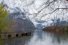 Obertraun port next to the town during autumn season, feeling co. Ld and lonely stock images