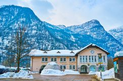 Obertraun Railway Station, Salzkammergut, Austria. OBERTRAUN, AUSTRIA - FEBRUARY 21, 2019: The building of the Railway station with small square in front of it stock images