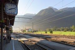 Obertraun train station, Hallstatt, Austria. Hallstatt, Austria, Obertraun train station in the morning beauty stock photo