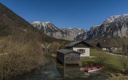 Obertraun village near Hallstatter sea in Austria. In spring sunny nice day royalty free stock images