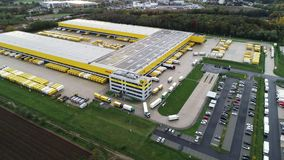 Aerial view of Deutsche Post DHL Group€™s parcel distribution hub