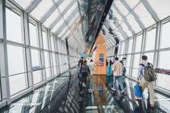 Obervatório da construção do centro financeiro de mundo de Shanghai Fotografia de Stock