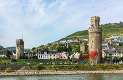Oberwesel, Germany. Tower in Oberwesel city on left (west) bank of Rhine, Germany Stock Images