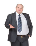 Obese affärsmandanande en peka Royaltyfri Bild