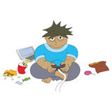 Obese Boy Gaming. An illustration of a boy playing and gaming while having fun with all the junk foods Stock Images