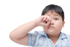 Obese boy itchy his eyes because dust in eye Stock Images