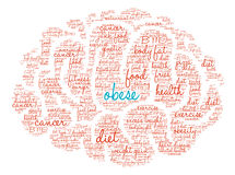 Obese Brain Word Cloud. On a white background Stock Photos